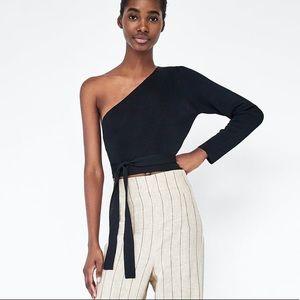 Zara knit crop top with tie waist